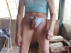Sissy twink takes his panties off to masturbate on himself.