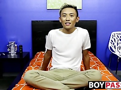 Cute asian twink Ty Neiman splashing hot cum on himself