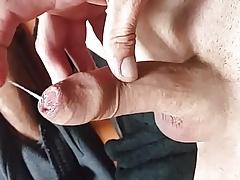 Fingering my wet foreskin