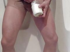 Cum Bath in Pantyhose