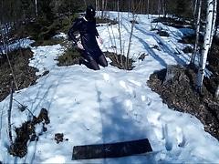 Hogtied in snow