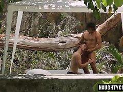 Latin boy gaping with cumshot