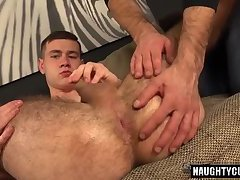 Hairy gay gaping with cumshot