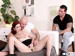 Assfucking jocks spitroasting a redhead babe