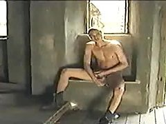 Masturbating soldier in the ruins