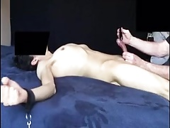 Skinny twink dick vibrated until he cums