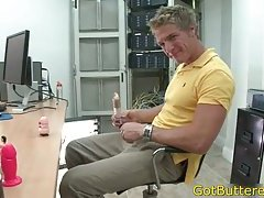 Muscled blond at casting