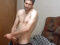 Sexy dude jerking off naked