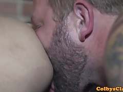 Straight muscle bear pounds ass balls deep