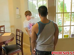 Gorgeous muscule stud fucks little Kyler hard until he cums