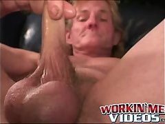 Finger fucked mature guy likes playing with his big dick
