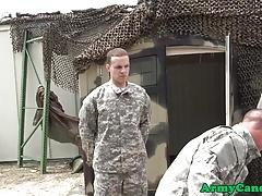 Army soldier deepthroating sergeants cock