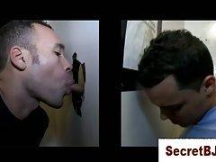 Straight guy getting a secret gay blowjob