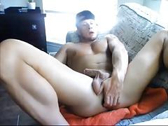 a str8 jock and his big black dildo