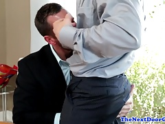 Bare fucked muscular office hunk wanks cum