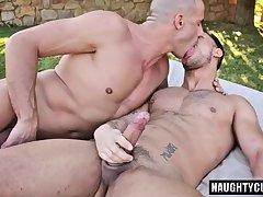 Big dick gay outdoor and cum swap