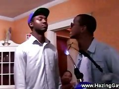 Ebony twink forced to get down and suck