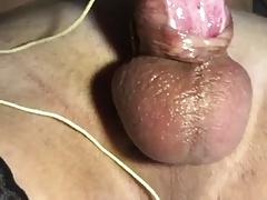 E-stim cumshot subincission pierced cock