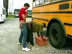 This thug gets fucked up against a bus by a horny guy