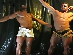 Two bodybuilders cumming