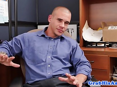 Interracial office trio ends with cum in mouth