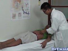 Ethnic doctor facefucks twinks before enema