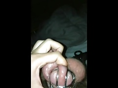 Cumming while in a chastity cage