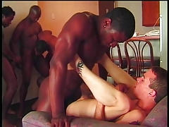 Gay man getting ass fucked in gang