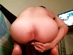 Fucking myself with Vixskin Buck dildo in chastity