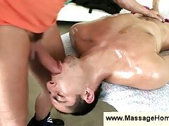 Oiled Guy Gets His Throat Stuffed