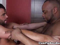 Bareback anal trio with guys pounding butt