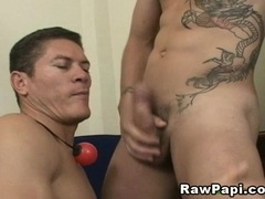 A fag sucks his BF's fat cock before taking it in his butt