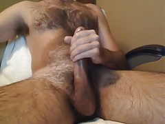 hairy dad big cock shoot on his chest