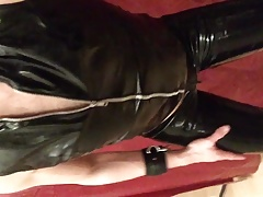 Black latex leggings and pvc top feeling horny