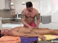 Tattooed queer gives a blowjob and jumps on the cock ardently