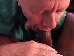I suck a big black cock and take big cum facial!