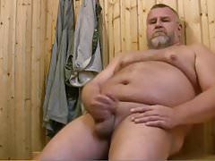 Bear jerking off in sauna