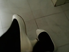 White Patent Pumps with Black Pantyhose Teaser 26