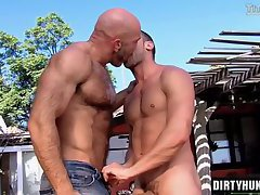 Muscle boy rimming with cumshot