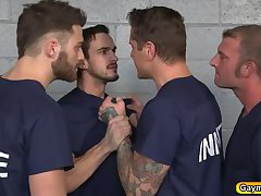 Parker forced to suck prisoners big dick and bang his ass