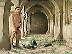 Masturbating soldier in the ruins