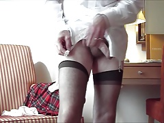 Dressing in Red Kilt with suspenders and stockings