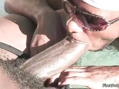 Five sexy homosexual studs fucking and sucking in pool