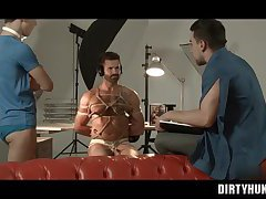 Muscle gay threesome and cumshot