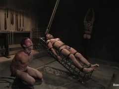 Two gays get beaten and fucked by some dominant dude in a cellar