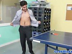 Buff boss ass pounding facialized stud