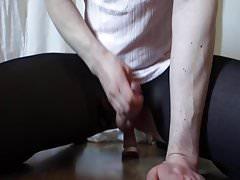 Hard cum while riding dildo