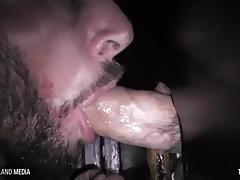 Shane Andrews gloryhole slut swallows every load