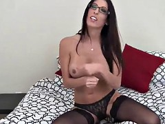 I put on the black lace pantyhose you love so much JOI