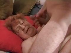 Granny gets cumshot on face